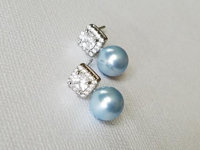 wedding photo - Blue Pearl Earrings, Swarovski 8mm Light Blue Earring Studs, Dusty Blue Pearl Bridal Earrings, Dainty Blue Pearl Earrings, Blue Halo Studs