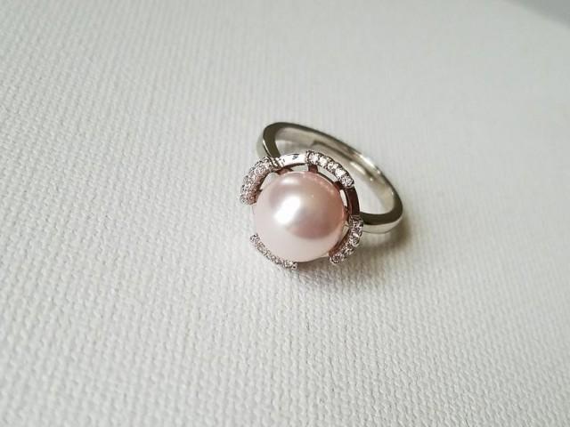 wedding photo - Pink Pearl Silver Ring, Blush Pink Pearl Ring, Swarovski Rosaline Pearl Ring, Light Pink Pearl Rings, Pink Jewelry, Wedding Jewelry Gift