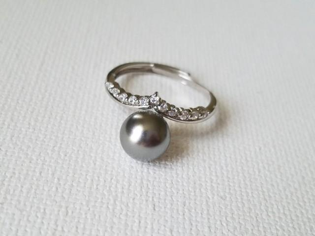 wedding photo - Grey Pearl Silver Ring, Swarovski Gray Pearl Ring, Charcoal Pearl Adjustable Ring, Wedding Grey Pearl Jewelry, Women Ring, Bridal Party Gift