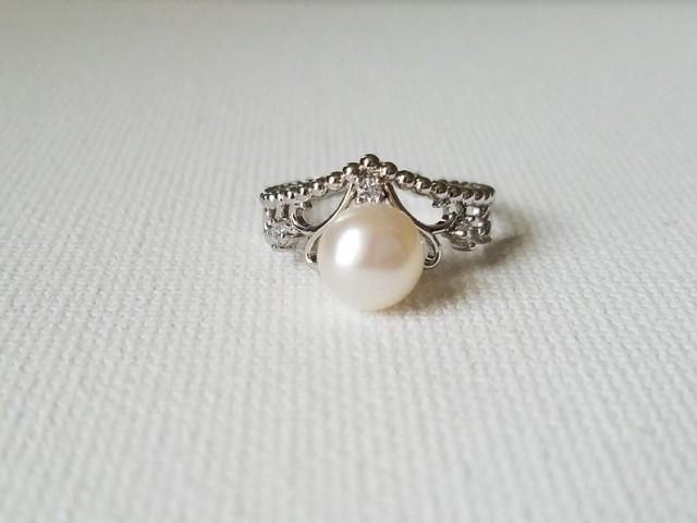 wedding photo - Freshwater Pearl Ring , White Pearl Ring, Wedding Pearl Silver Dainty Ring, Bridal Party Gift, White Pearl Women Ring, Wedding Pearl Jewelry