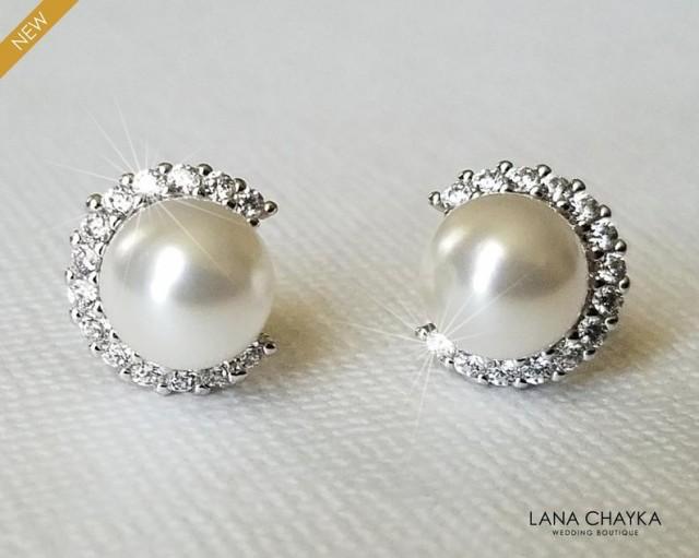 wedding photo - White Pearl Halo Earrings, Swarovski Pearl CZ Earrings, Bridal Pearl Silver Earring Studs, Wedding Pearl Bridal Jewelry, Dainty Pearl Studs