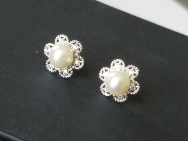 wedding photo - Pearl Bridal Earring Studs, Swarovski Ivory Pearl Silver Earrings, Wedding Pearl Earrings, Dainty Pearl Flower Earrings Pearl Bridal Jewelry