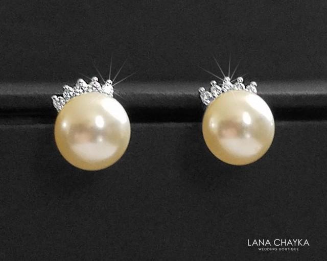 wedding photo - Pearl Stud Earrings, Ivory Pearl Dainty Bridal Earrings, Swarovski 8mm Pearl Earrings Studs, Wedding Jewelry, Bridal Jewelry, Prom Earrings