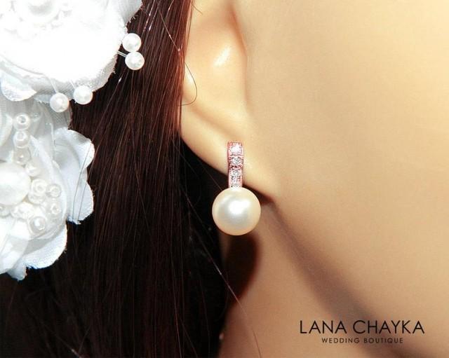 wedding photo - Ivory Pearl Rose Gold Bridal Earrings Small Pearl CZ Stud Earring Swarovski 8mm Pearl Pink Gold Earrings Wedding Bridal Bridesmaid Jewelry
