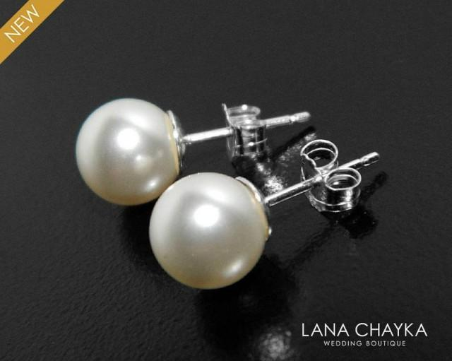 wedding photo - Pearl Bridal Earrings, Swarovski White or Ivory Pearl Earrings, Wedding Sterling Silver Pearl Studs, Bridesmaids Jewelry, Bridal Party Gift