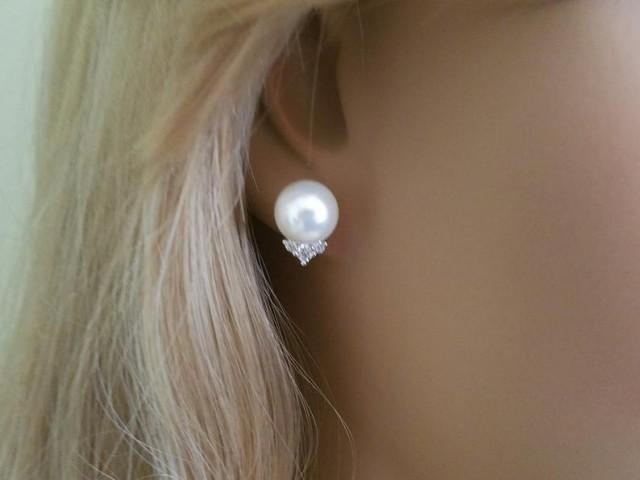 wedding photo - White Pearl Bridal Earrings, Swarovski 10mm Pearl Earring Studs, Wedding Pearl Earrings, Wedding Bridal Jewelry, Pearl Silver Earring Studs