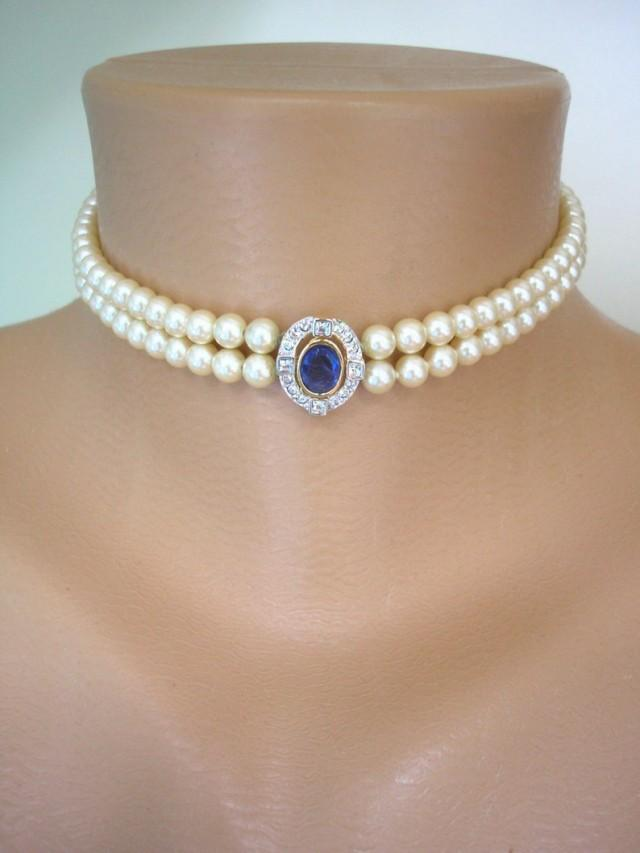 wedding photo - Vintage Pearl Choker Necklace, Montana Sapphire Rhinestone Pendant, Attwood & Sawyer