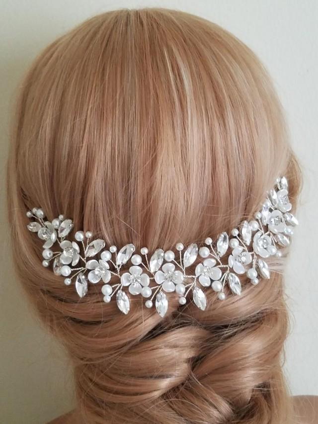 wedding photo - Bridal Hair Piece, Wedding Pearl Crystal Headpiece, White Pearl Rhinestone Hairpiece, Pearl Crystal Floral Hair Piece, Pearl Crystal Vine