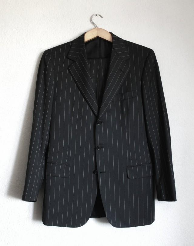BRIONI Palatino vintage wool black white striped suit