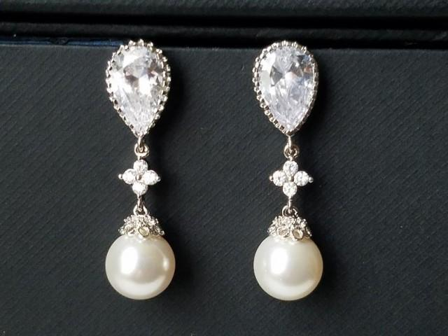 wedding photo - Pearl Bridal Earrings, Swarovski White Pearl Earrings, Pearl Silver CZ Wedding Earrings, Bridesmaids Pearl Jewelry, Pearl Dangle Earrings
