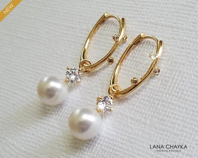 wedding photo - Pearl Gold Bridal Earrings