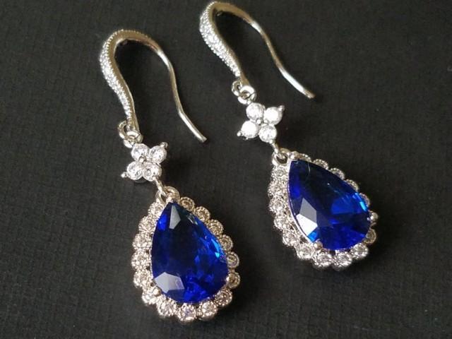 wedding photo - Navy Blue Crystal Earrings, Sapphire Blue Teardrop Earrings, Blue Chandelier Earrings, Blue CZ Silver Bridal Earrings, Wedding Blue Jewelry