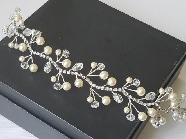 wedding photo - Pearl Crystal Bridal Hair Vine, Swarovski Ivory Pearl Crystal Hair Piece, Wedding Pearl Wreath, Bridal Pearl Crystal Headpiece, Hair Jewelry