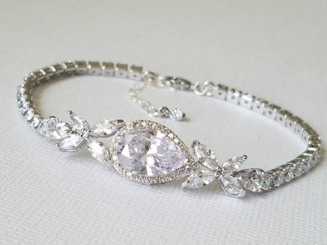 wedding photo - Bridal Cubic Zirconia Bracelet, Wedding Crystal Bracelet, Silver Cubic Zirconia Pear Bracelet, Bridal Jewelry, Wedding Sparkly Bracelet