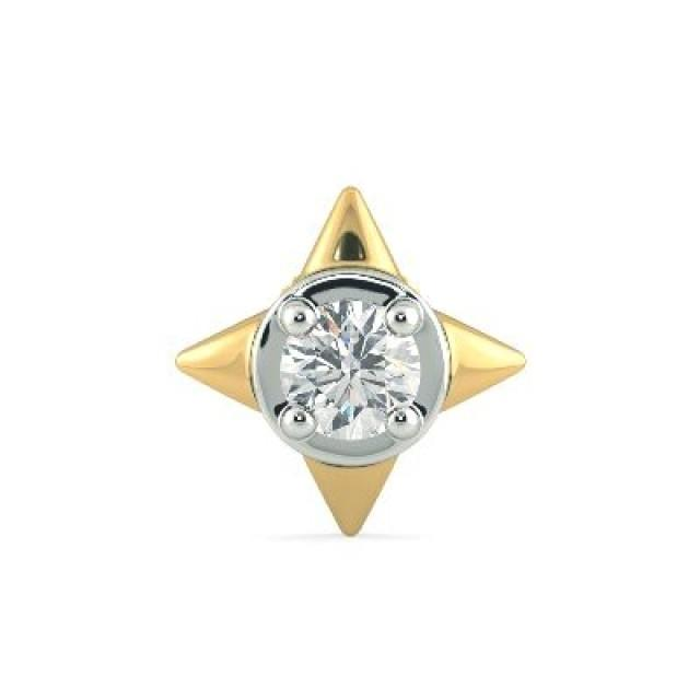 wedding photo - Mens Single Stud Diamond Earring 0.08 Carat In 14k Yellow Gold