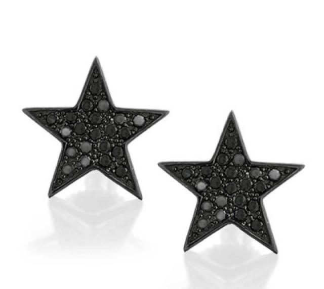 wedding photo - Black Diamonds Star Stud Earrings In Black Rhodium 0.21 Carat Weight