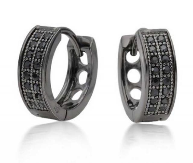 wedding photo - Black Diamonds Men's Hoop Earrings In Black Rhodium 0.32 Carat Weight