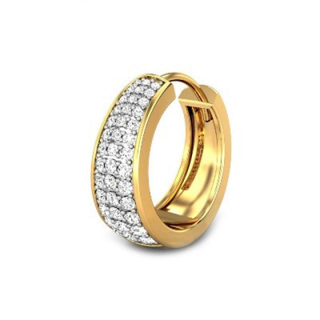 wedding photo - Diamond Hoop Earring For Men Craft In 14k Yellow Gold 0.34 Carat