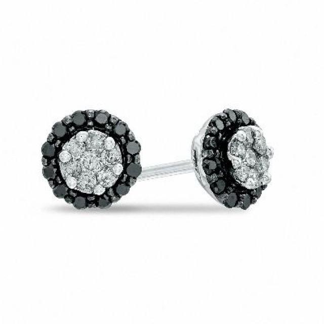 wedding photo - Black And White Diamond Stud Earring 0.50 Carat In 14k White Gold.