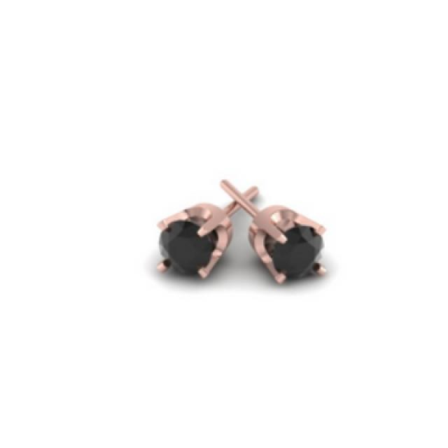 wedding photo - Black Diamonds Stud Earring 0.50 Carat In 14k Rose Gold For Men.
