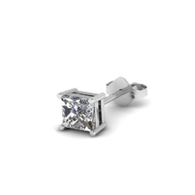 wedding photo - Princess Cut Diamond Earring In 14K White Gold 0.50 Carat For Him
