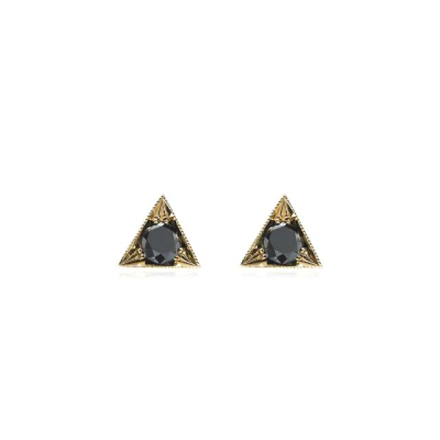 wedding photo - Unisex Black Diamond Stud Earring 0.80 Carat In 14k Yellow Gold