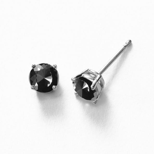 wedding photo - Black Diamond Stud Earring Which Is Set In 14k White Gold 1.00 Carat