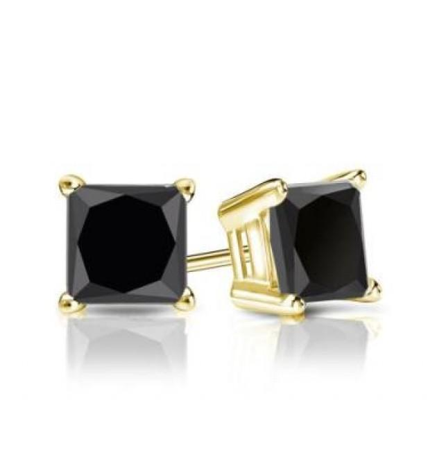 wedding photo - Black Diamond Stud Princess Cut Earrings 1.50 Carat In 14k Yellow Gold