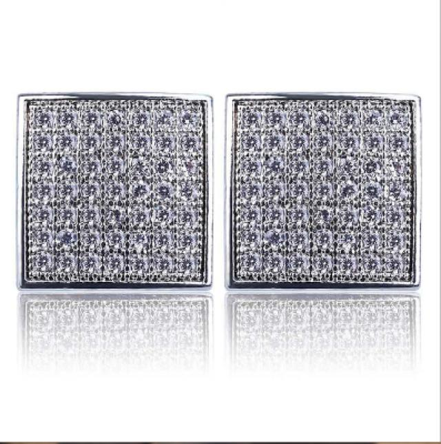 wedding photo - Stud Earrings For Men Made In 14k white Gold 1.50 Carat Weight For Sale