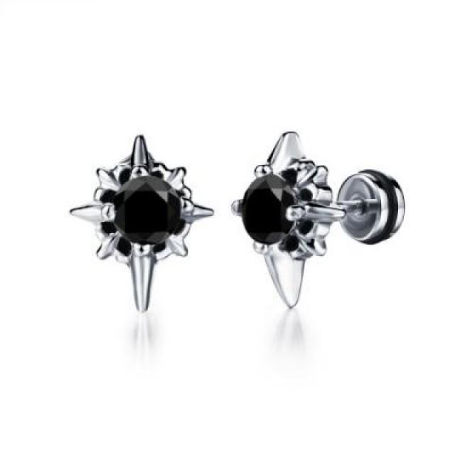 wedding photo - Men's Diamond Stud Earring 1.56 Carat In 14k White Gold Black Diamond