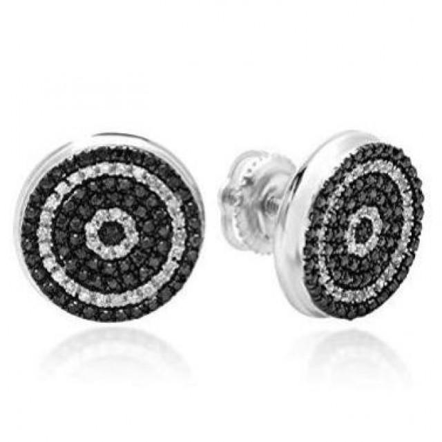 wedding photo - Black And White Diamonds Men's Stud Earrings In 14K White Gold