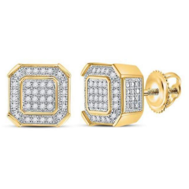 wedding photo - Diamond Square Cluster Stud Earrings 1.92 Carat For Men & Women