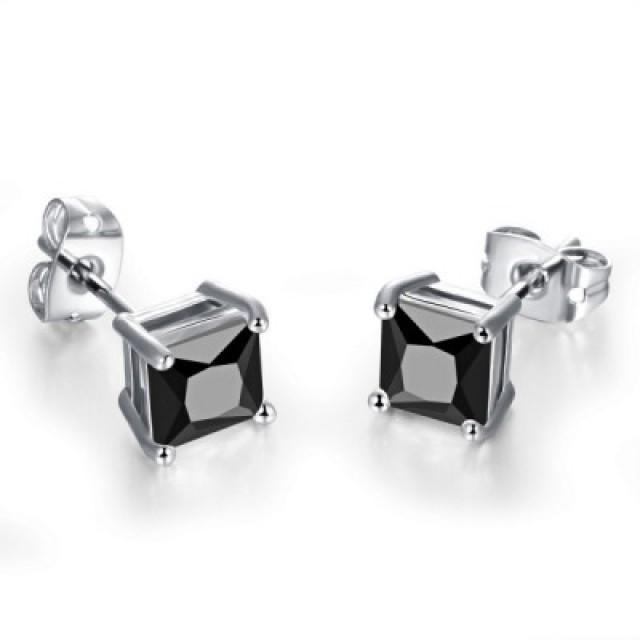 wedding photo - Men's Black Stud Earrings 2.00 Carat Made In 14k White Gold