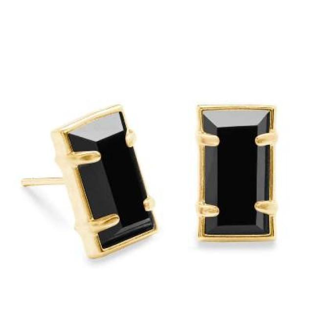 wedding photo - Black Emerald Cut Stud Earrings In 3.00 Carat In 14k Yellow Gold.