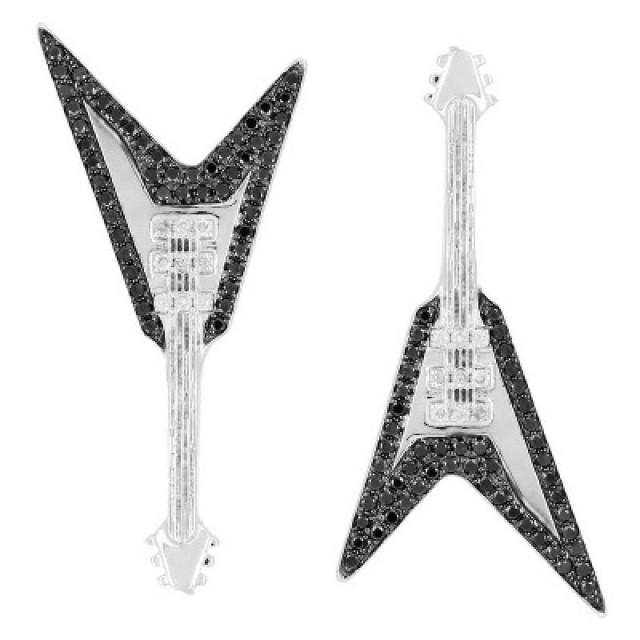 wedding photo - Guitar Shape Black Diamond Earrings Made For Unisex
