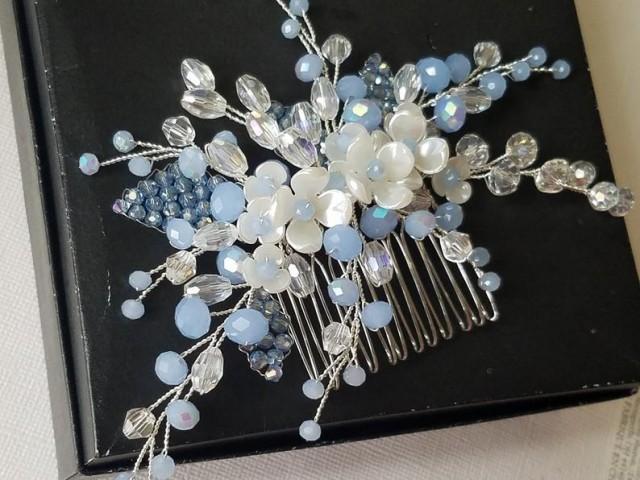 wedding photo - Blue Bridal Hair Comb, Dusty Blue Floral Hair Piece, Wedding Pastel Blue Crystal Hair Comb, Blue Silver Headpiece Wedding Blue Hair Jewelry