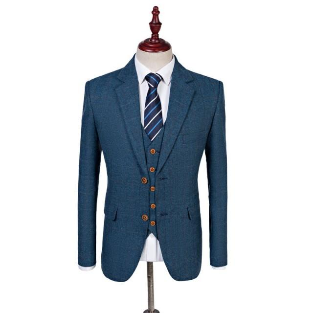 Light Blue Estate Herringbone Tweed 3 Piece Suit