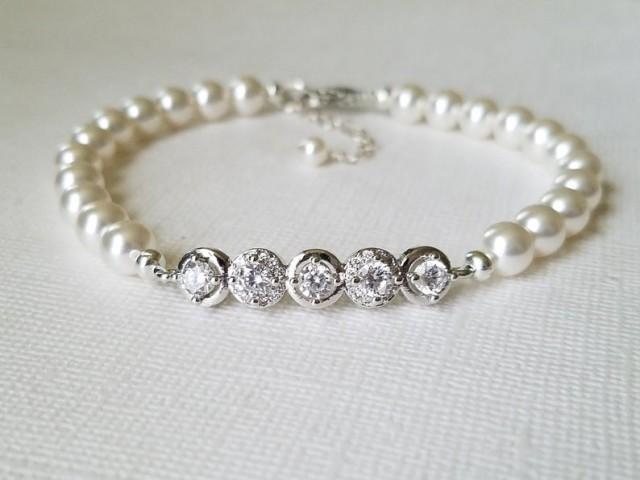 wedding photo - Pearl Bridal Bracelet, Swarovski White Pearl Silver Wedding Bracelet, Dainty Pearl Bridal Bracelet, Bridal Pearl Jewelry, Pearl CZ Bracelet