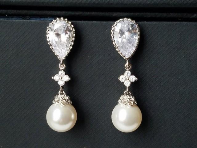 wedding photo - Bridal Pearl Earrings, Wedding Pearl Chandelier Earrings, Swarovski White Pearl Silver Earrings, Pearl Drop Earrings, Bridesmaids Jewelry