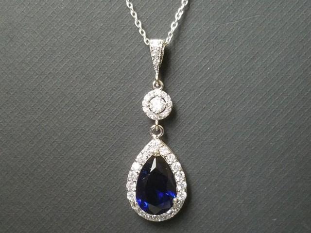 wedding photo - Blue Crystal Bridal Necklace, Wedding Sapphire Halo Pendant, Royal Blue Silver Necklace, Cobalt Blue Jewelry, Dark Blue Teardrop Necklace