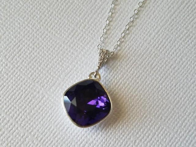 wedding photo - Dark Purple Crystal Necklace, Swarovski Purple Velvet Silver Necklace, Wedding Grape Necklace, Dark Violet Pendant, Bridal Purple Necklace