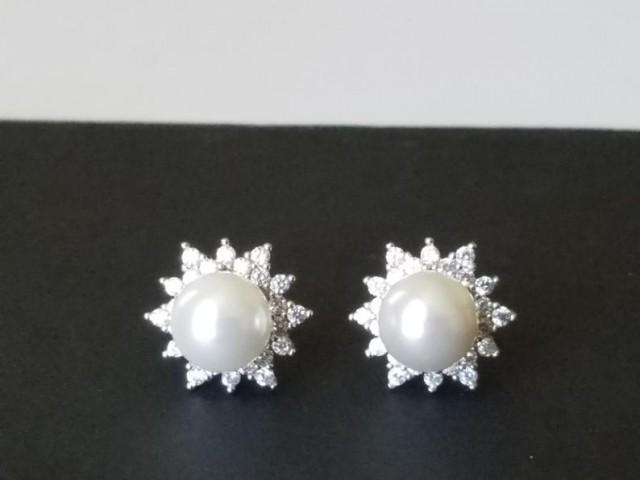 wedding photo - Pearl Stud Bridal Earrings, Swarovski White Pearl Silver Earrings, Pearl Halo Earrings, Wedding Bridal Jewelry, Pearl Cubic Zirconia Studs