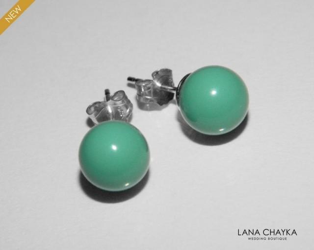 wedding photo - Jade Pearl Sterling Silver Earrings, Swarovki 8mm Jade Stud Earrings, Mint Earring Studs, Jade Green Earrings, Wedding Mint Green Earrings