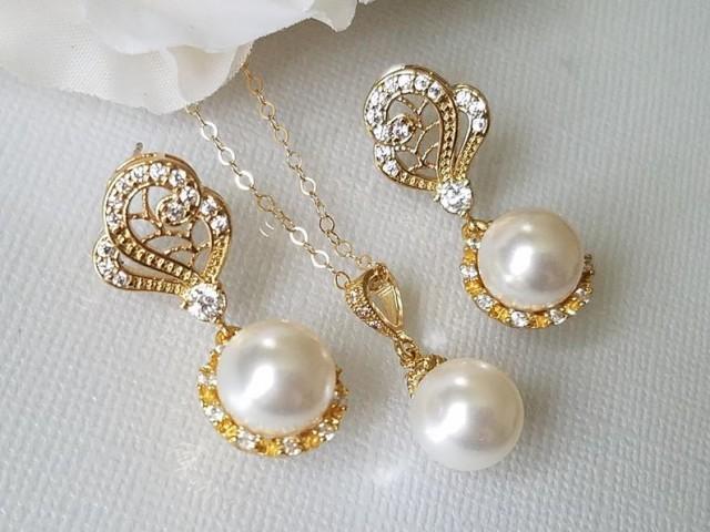 wedding photo - Gold Bridal Pearl Jewelry Set, Swarovski White Pearl Earrings&Necklace Set, Pearl Halo Earrings, White Pearl Pendant, Wedding Bridal Jewelry