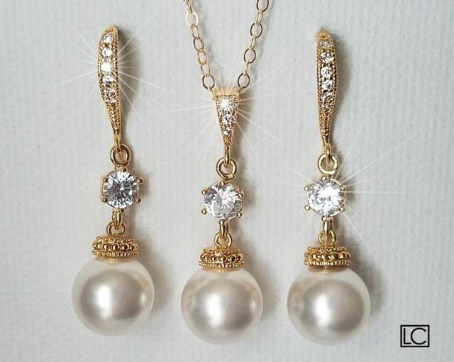 wedding photo - White Pearl Gold Bridal Set, Swarovski 10mm Pearl Earrings&Necklace Set, Pearl Chandelier Earrings, Pearl Pendant, Bridal Bridesmaid Jewelry