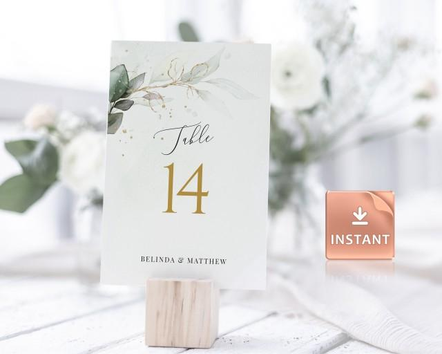 "CLEO - Greenery Wedding Table Numbers, FAUX Gold Watercolor Eucalyptus Leaves, 2 Sizes 5x7"" and 4x6"", download, Editable Boho Template"
