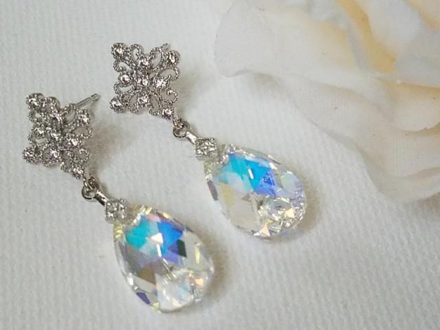 wedding photo - Aurora Borealis Crystal Bridal Earrings, Swarovski AB Teardrop Silver Earrings, Rainbow Sparkly Dangle Wedding Earrings, Bridal AB Jewelry