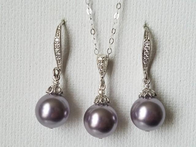 wedding photo - Light Purple Pearl Set, Swarovski Mauve Pearl Earrings&Necklace Set, Light Purple Jewelry Set, Mauve Pearl Earrings, Purple Wedding Jewelry