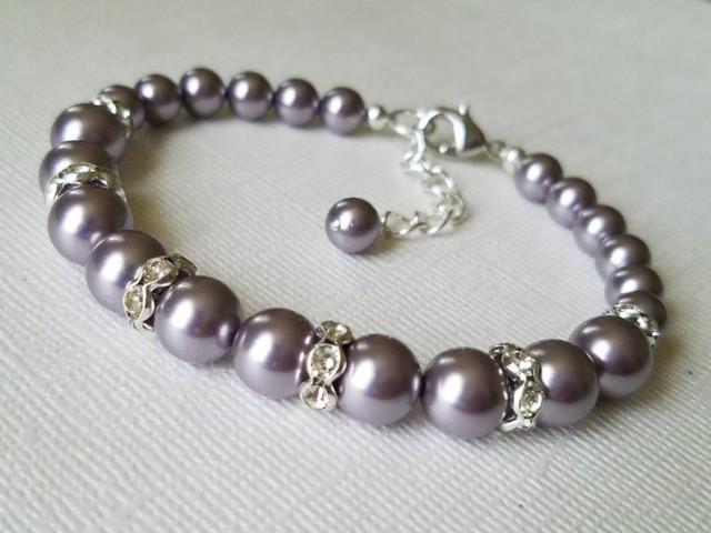 wedding photo - Light Purple Pearl Bracelet, Swarovski Mauve Pearl Silver Wedding Bracelet Wisteria Purple Wedding Bracelet Purple Wedding Jewelry