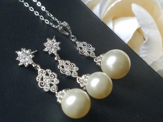 wedding photo - Pearl Bridal Jewelry Set, Swarovski Ivory Pearl Earrings&Necklace Set, Wedding Jewelry Set, Pearl Chandelier Earrings, Large Pearl Pendant